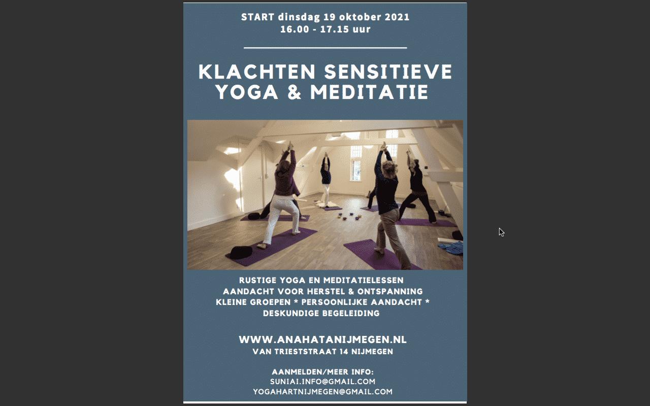 Klachten sensitieve yoga Yogahart Nijmegen